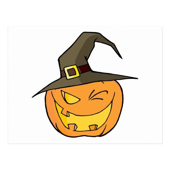 Halloween Pumpkin Winking A Witch Hat Postcard