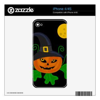 Halloween pumpkin - witch hat iPhone 4 skins