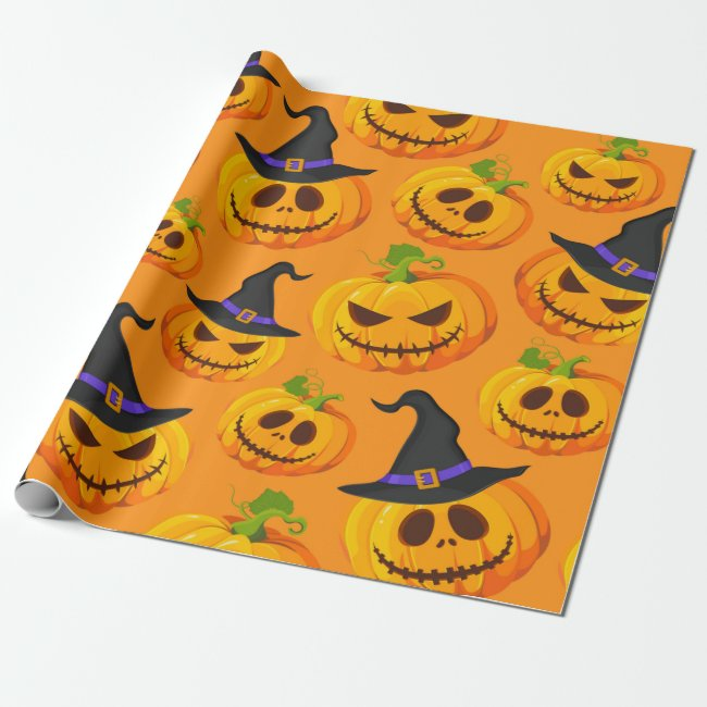 Halloween Pumpkin Witch Hat Pattern Wrapping Paper