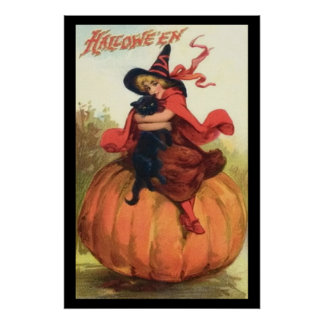 Halloween Pumpkin Witch In Red on top of a pumpkin Poster