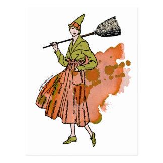 Halloween pumpkin witch postcard