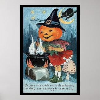 Halloween Pumpkin Witch Poster