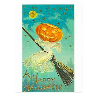Halloween Pumpkin Witch Vintage Postcard