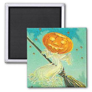 Halloween Pumpkin Witch Vintage Postcard Magnet