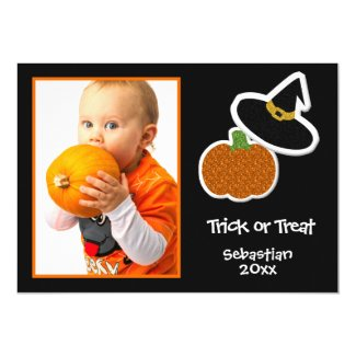 Halloween Pumpkin & Witches Hat Photo Frame- Card