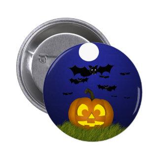 Halloween Pumpkin with Bats Button