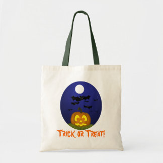 Halloween Pumpkin with Bats Trick or Treat Bag