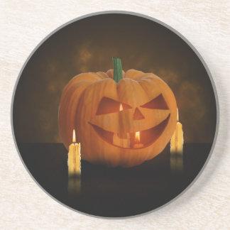 Halloween Pumpkin with Candles - Sandstone Coaster