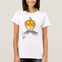 Halloween Pumpkin With Carcinoid Cancer Ribbon T-Shirt