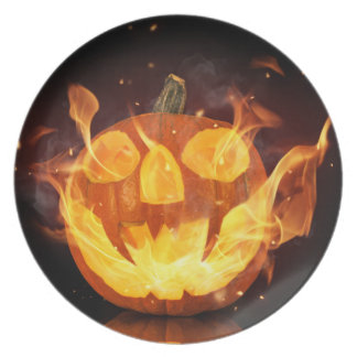 Halloween Pumpkin With Fire Flames Dinner Plate