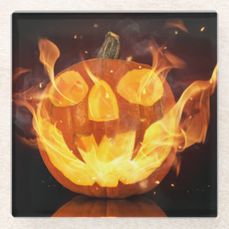 Halloween Pumpkin With Fire Flames Glass Coaster