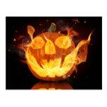 Halloween Pumpkin With Fire Flames Postcard