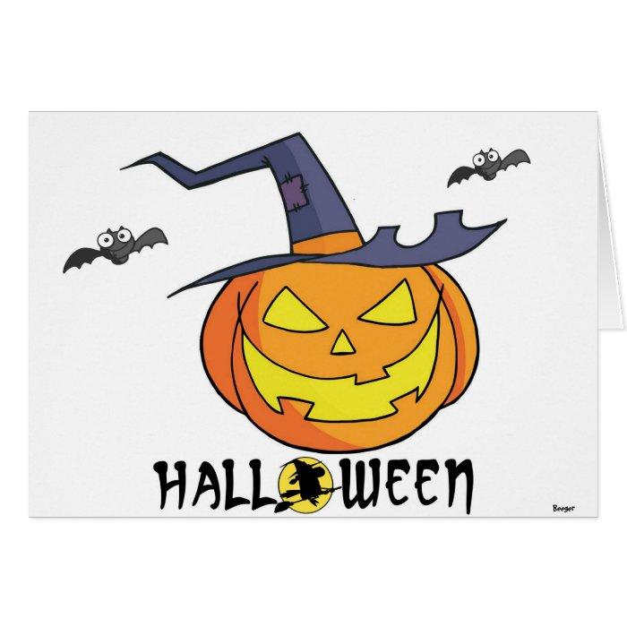 Halloween - Pumpkin with hat and bats Card