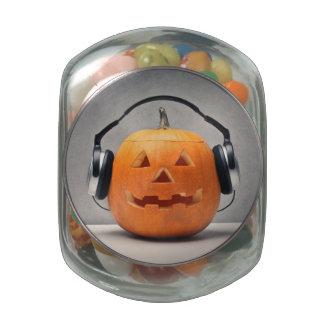 Halloween Pumpkin With Headphones For Music Glass Candy Jar