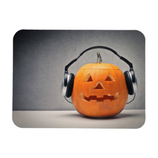 Halloween Pumpkin With Headphones For Music Magnet