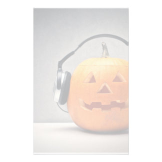Halloween Pumpkin With Headphones For Music Stationery