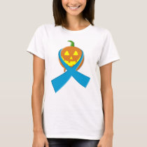 Halloween Pumpkin With Ovarian Cancer Ribbon T-Shirt