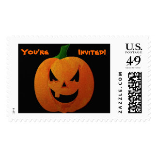 """Halloween Pumpkin """"You're Invited"""" Stamp"""