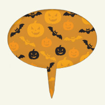 Halloween pumpkins and bats cake topper