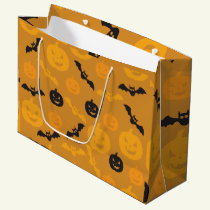 Halloween pumpkins and bats large gift bag
