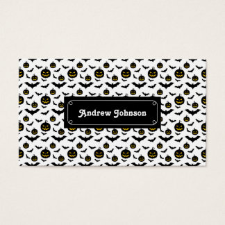 Halloween pumpkins and bats pattern business card
