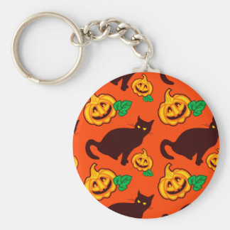Halloween pumpkins and black cat keychain