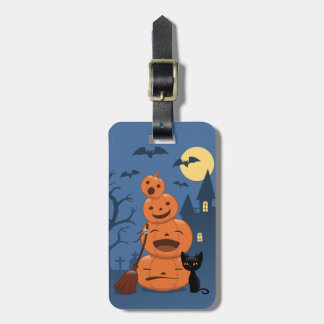 Halloween Pumpkins and Black Cat Luggage Tag