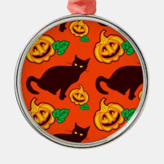 Halloween pumpkins and black cat metal ornament