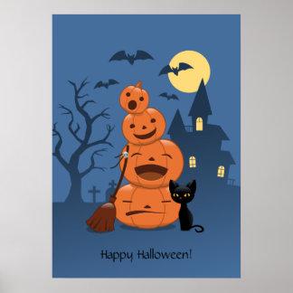Halloween Pumpkins and Black Cat Poster