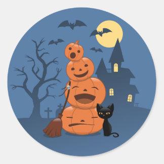 Halloween Pumpkins and Black Cat Classic Round Sticker