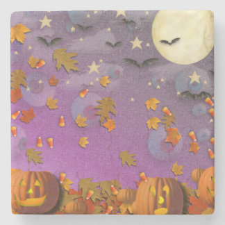 Halloween Pumpkins and Leaves Stone Beverage Coaster