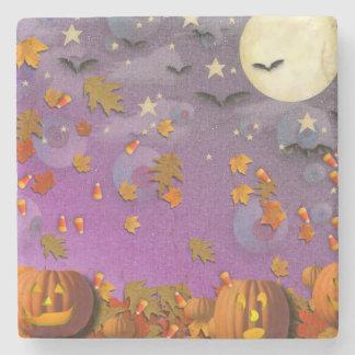 Halloween Pumpkins and Leaves Stone Coaster