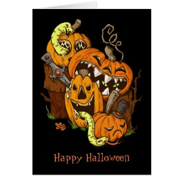 Halloween Themed Halloween Pumpkins and Snakes Greeting Card