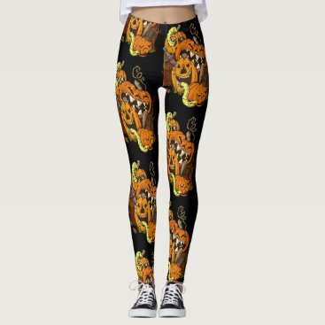 Halloween Themed Halloween Pumpkins and Snakes Leggings