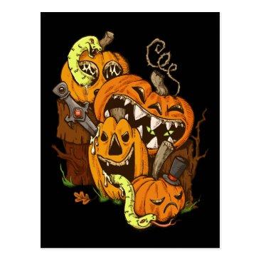 Halloween Themed Halloween Pumpkins and Snakes Postcard