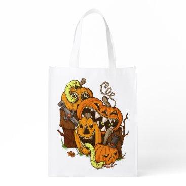Halloween Themed Halloween Pumpkins and Snakes Reusable Bag
