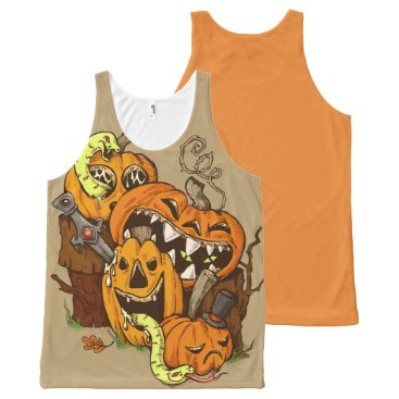 Halloween Themed Halloween Pumpkins and Snakes Tank Top