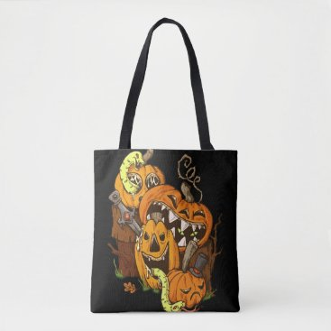 Halloween Themed Halloween Pumpkins and Snakes Tote