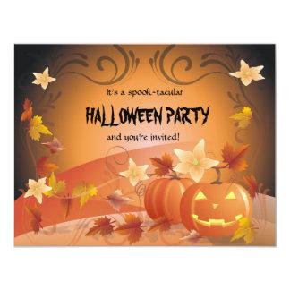 Halloween Pumpkins, Autumn Leaves & Swirls Card