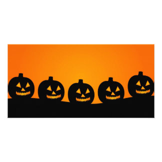 Halloween pumpkins background photocard photo card
