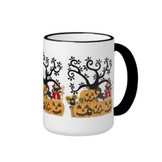 Halloween Mugs Filled With Pug Dogs and Pumpkins