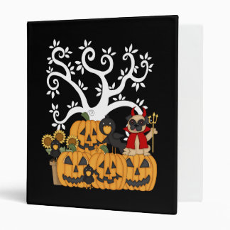 Halloween Pumpkins, Black Birds and Pug Dog 3 Ring Binder