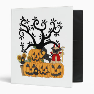 Halloween Pumpkins, Black Birds and Pug Dog Binder
