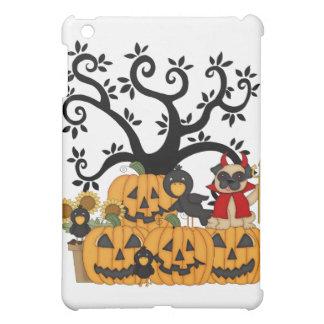 Halloween Pumpkins, Black Birds and Pug Dog iPad Mini Case