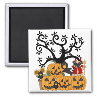 Halloween Pumpkins, Black Birds and Pug Dog Magnet