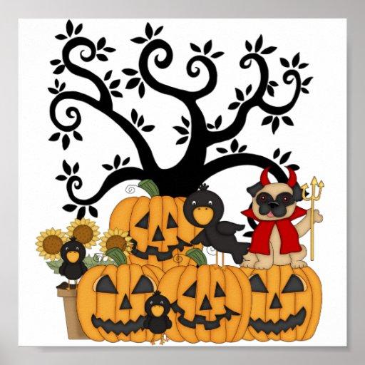 Halloween Pumpkins, Black Birds and Pug Dog Print