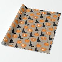 Halloween Pumpkins & Flying Bats Wrapping Paper