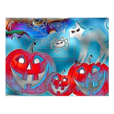 Halloween Themed Halloween Pumpkins Gimp Art Postcard