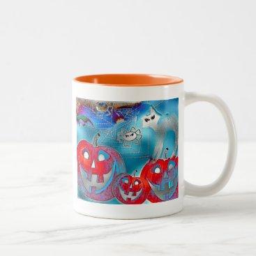 Halloween Themed Halloween Pumpkins Gimp Art Two-Tone Coffee Mug