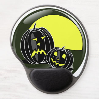 Halloween pumpkins in front of a yellow moon gel mouse pad